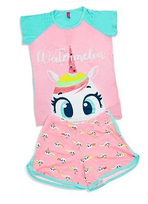 Puket Pijama Short Doll Manga Curta Teen Visco Unicornio 030501597