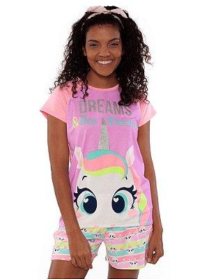 Puket Pijama Short Doll Manga Curta Visco Unicorno 030402029