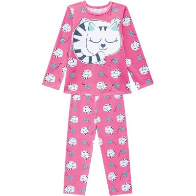 Kyly Pijama Infantil Feminino Manga Longa 207527 Cor Pink