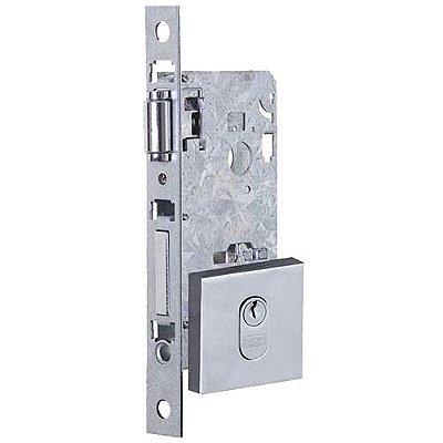 Fechadura Rolete 55mm com Roseta Quadrada Polido Synter p/ Portas até 35mm