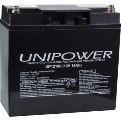 Bateria Estacionária Selada 12V/18A VRLA UP12180 UNIPOWER