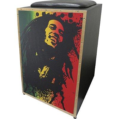 Cajon Acústico Inclinado Profissional K2 COR-002 Bob Marley JAGUAR