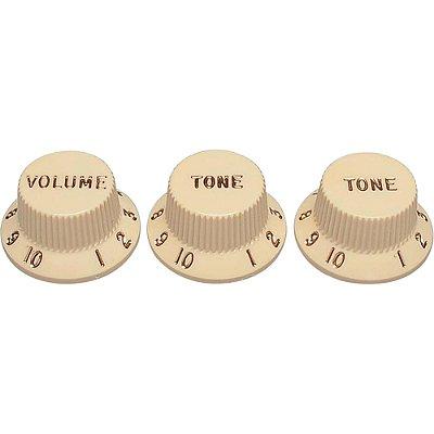 Set de Knobs para Guitarra Stratocaster VTT Branco Envelhecido FENDER