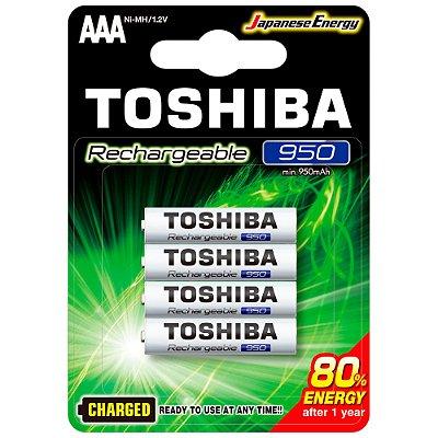 Pilha Recarregável AAA 1,2V 950mAh TNH3GAE TOSHIBA (Cartela com 4 unid.) - CXF / 14