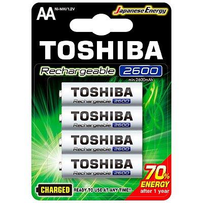 Pilha Recarregável AA 1,2V 2600mAh TNH6GAE TOSHIBA (Cartela com 4 unid.) - CXF / 10