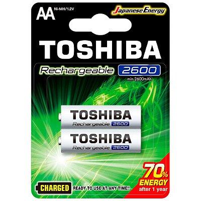 Pilha Recarregável AA 1,2V 2600mAh TNH6GAE TOSHIBA (Cartela com 2 unid.) - CXF / 10
