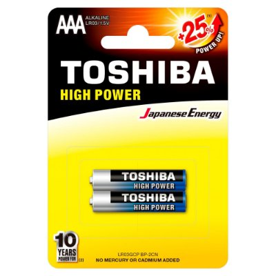 Pilha Alcalina AAA 1,5V LR03GCP TOSHIBA (Cartela com 2 Unid.) - CXF / 12