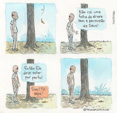Não cai uma folha da árvore - Tirinha Téo E O Mini Mundo impressa em papel algodão