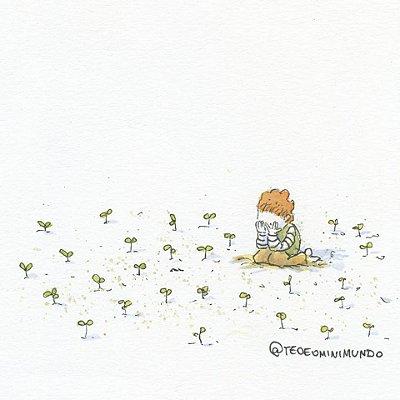 A Flor - Tirinha Téo E O Mini Mundo impressa em papel algodão - 8 páginas