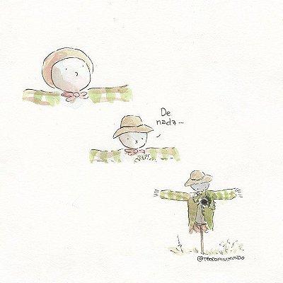 A Fadinha e o Espantalho - Tirinha Téo E O Mini Mundo impressa em papel algodão - 3 páginas