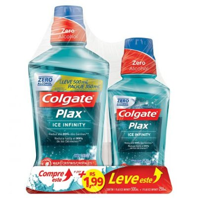 Kit Colgate Plax Ice Infinity Enxaguante bucal 500ml+250ml