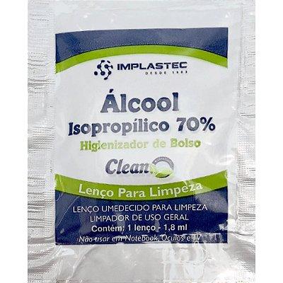 Higienizador de Bolso (lenços de papel em álcool isopropílico 70%, embalados individualmente)