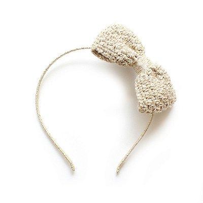 Tiara Laço Glam Crochet Areia