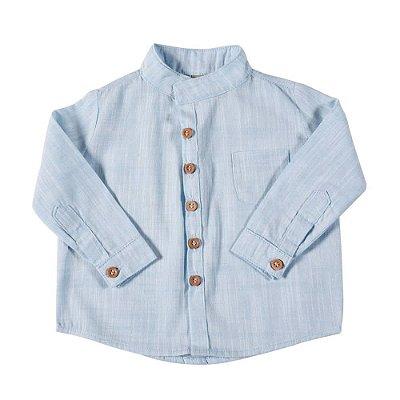 Camisa Alfaiataria Botão Azul
