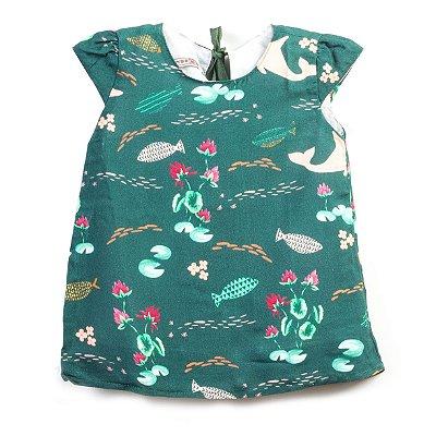 Vestido Baby Trapézio Boto Cor-de-Rosa Verde