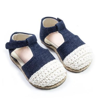 Sapatinho Eco Boneca Crochet Jeans