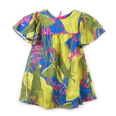 Vestido Pompom Folhagem Marinho