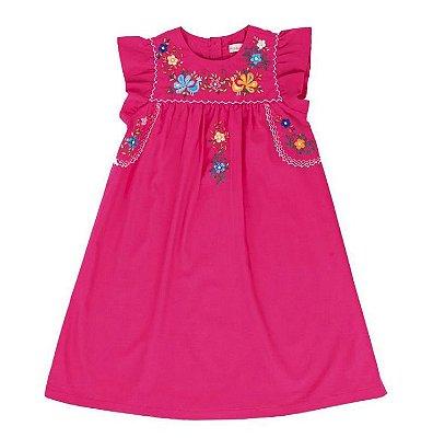 Vestido Bordado Mexicano Pink