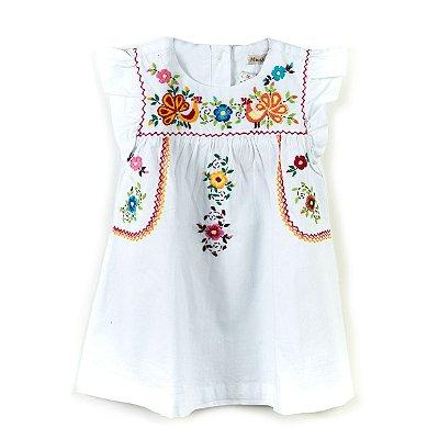 Vestido Bordado Mexicano Branco