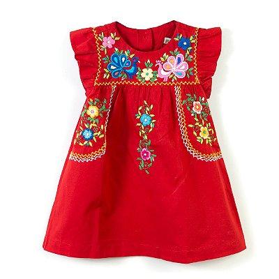 Vestido Bordado Mexicano Vermelho