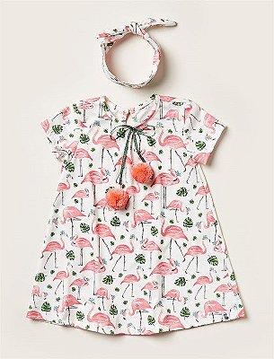 Vestido Kids Flamingos Pompom
