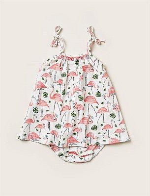 Vestido Baby Flamingos Pompom