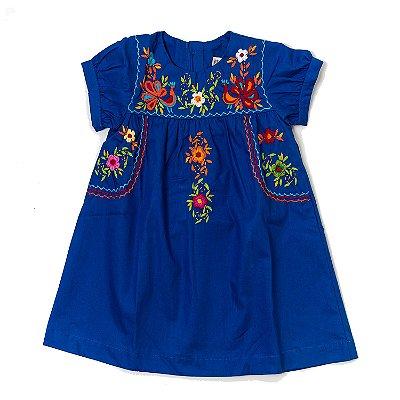 Vestido Mexicano Bordado BLUE