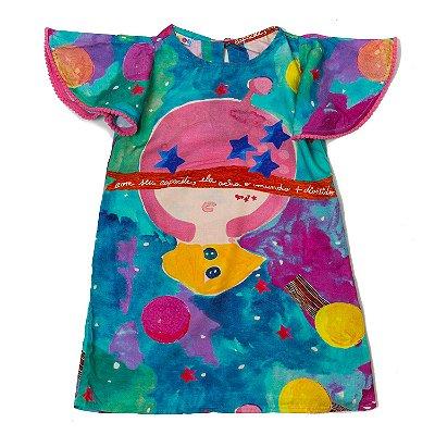 Vestido Trapézio Pompom Planetas