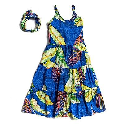 Vestido Midi Azul Folhagem