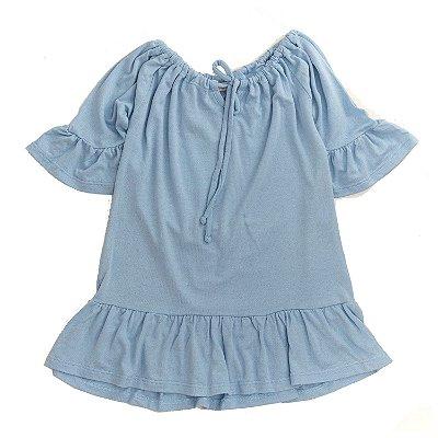 Vestido Babadinho Azul Céu