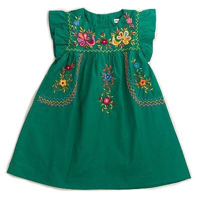 Vestido Bordado Mexicano Verde Bandeira