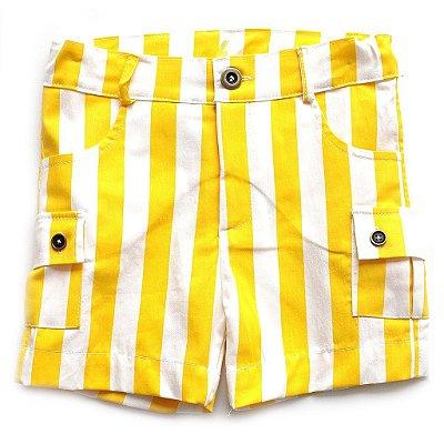 Bermuda Sarja Bolso Amarelo Banana