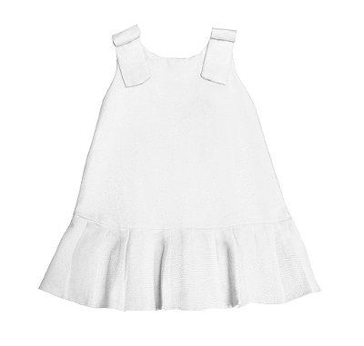 Vestido Laço Babadinho Piquet Branco