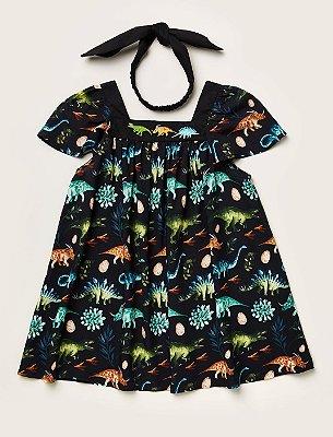Vestido Baby Dinos Bordado Preto