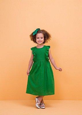Vestido Linho Verde Flora