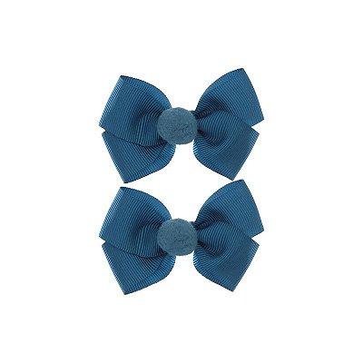 Laço Pompom Bella - Azul Pretóleo