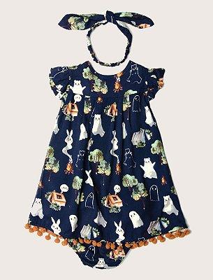 Vestido Baby Fantasmas Pompom