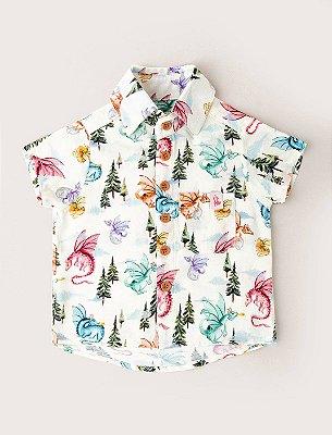 Camisa de Botãozinho Baby Dragões - Baunilha