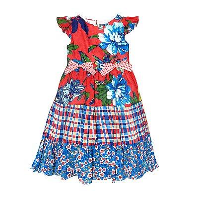 Vestido Junino Floral com Xadrez