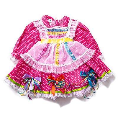 Vestido Junino Baby Manga Comprida Corações Rosa