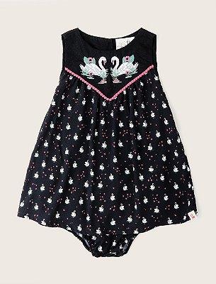 Vestido Baby Bordado Noite dos Cisnes