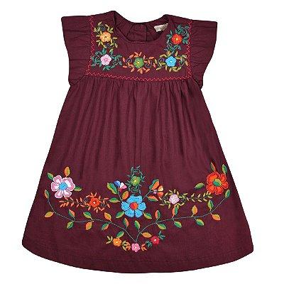 Vestido Bordado Jardim das Flores - Vinho