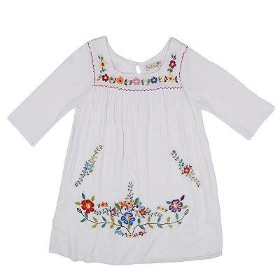 Vestido Jardim das Flores Branco  - Bordado a Mão Curto Manga 3/4