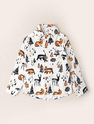 Camisa Baby Botão Amigos no Bosque