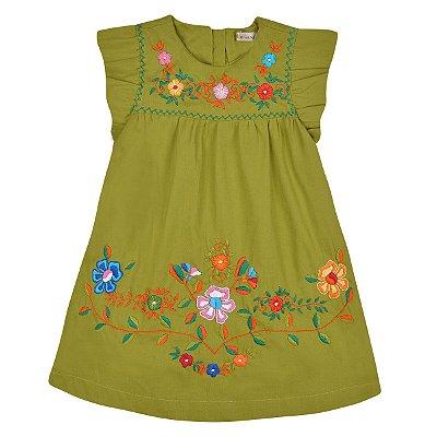 Vestido Jardim das Flores Verde Pistache  Bordado a Mão