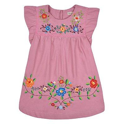 Vestido Jardim das Flores Rosa Seco - Bordado a Mão