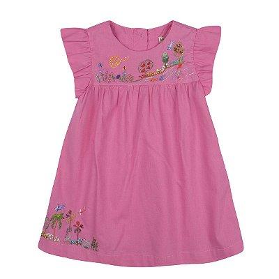 Vestido Coqueiros Bordado a Mão Rosa
