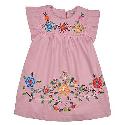 Vestido Jardim das Flores Nude -Bordado a Mão