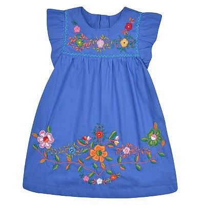 Vestido Jardim das Flores Azul Céu -Bordado a Mão
