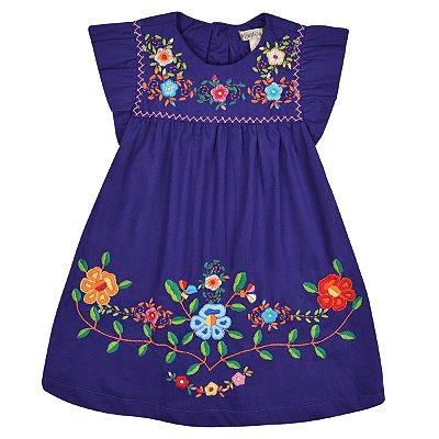 Vestido Jardim das Flores Roxo - Bordado a Mão